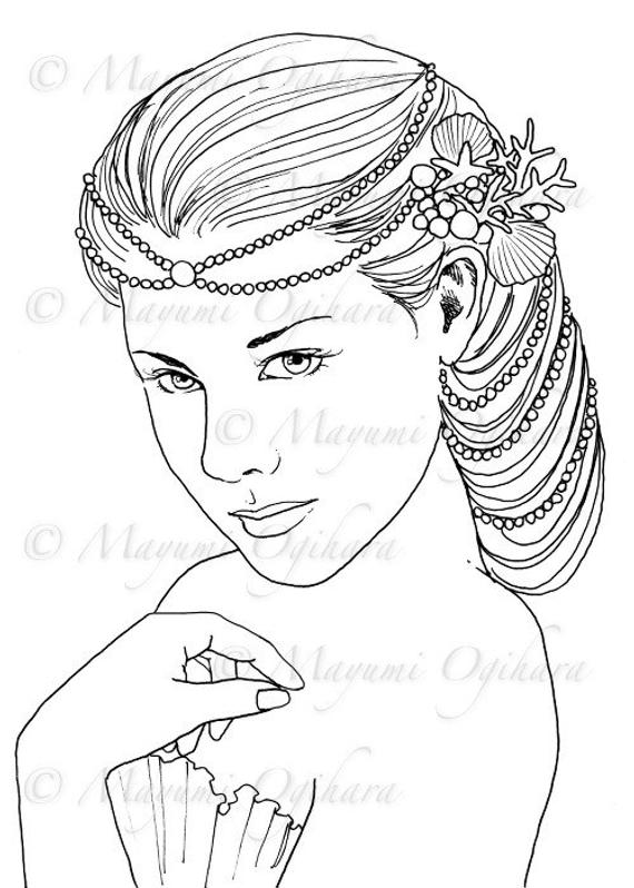 queen mermaid coloring pages mermaid queen digital stamp colouring page printable mermaid queen coloring pages