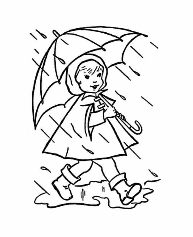 rainy day coloring pages for preschoolers boy with his umbrella and rain jacket under the spring pages coloring preschoolers day for rainy