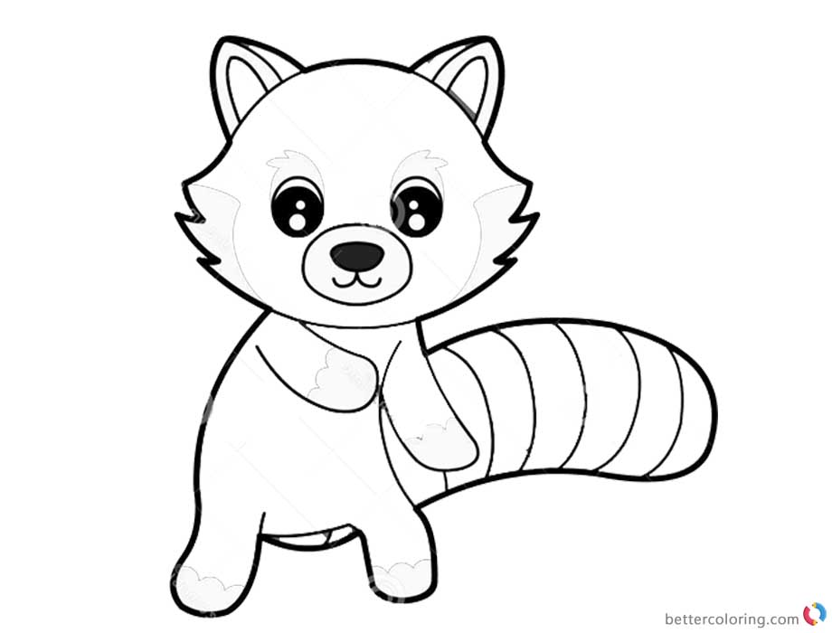 red panda coloring coloring pages little cute red panda in the forest stock red coloring panda