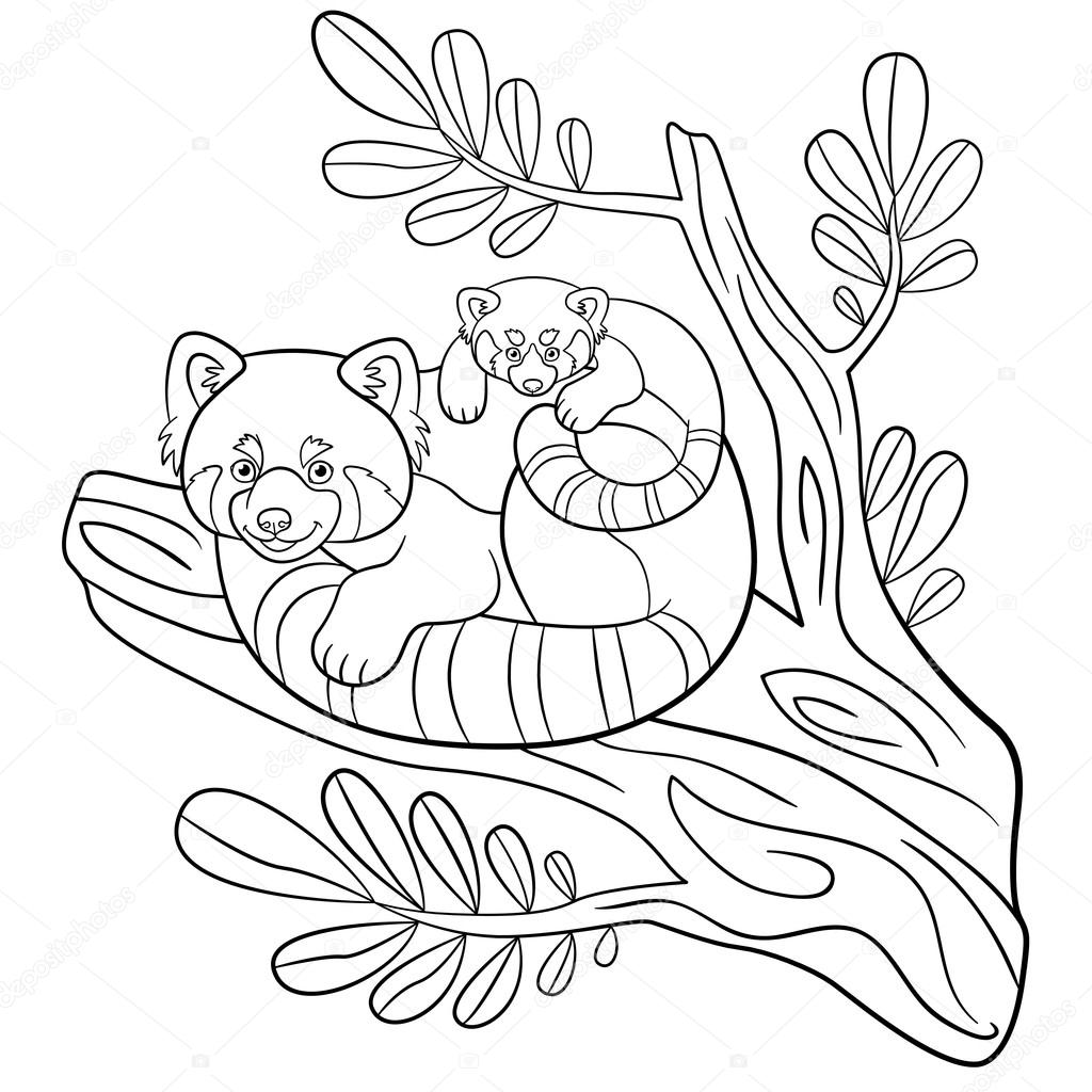 red panda coloring page free coloring pages mother red panda with her cute baby panda page red coloring free