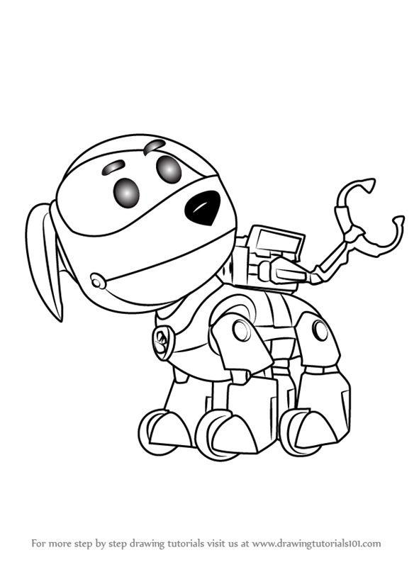 robot dog coloring pages learn how to draw robo dog from paw patrol paw patrol dog robot coloring pages