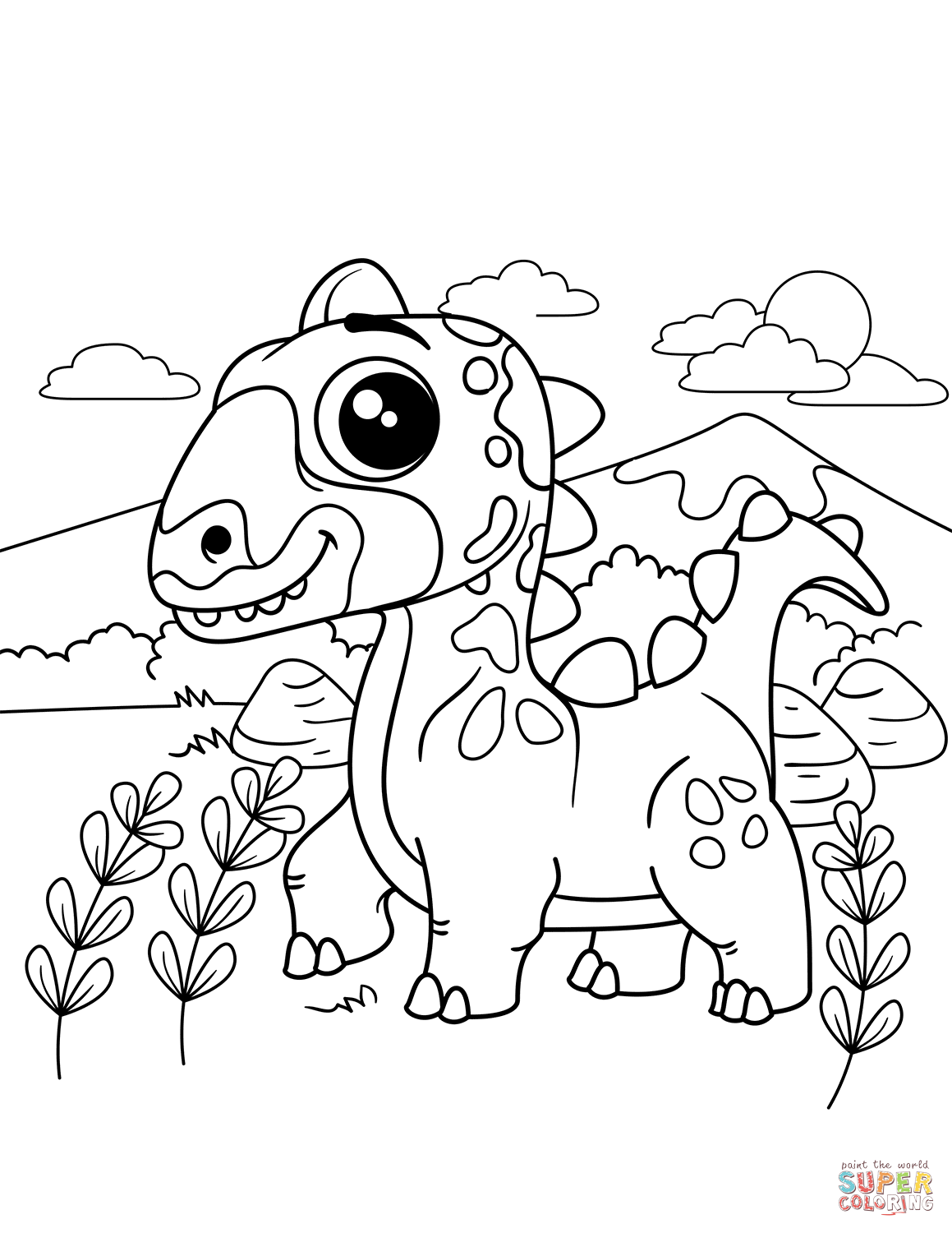 simple dinosaur coloring pages cute dinosaur drawing at getdrawings free download simple pages coloring dinosaur