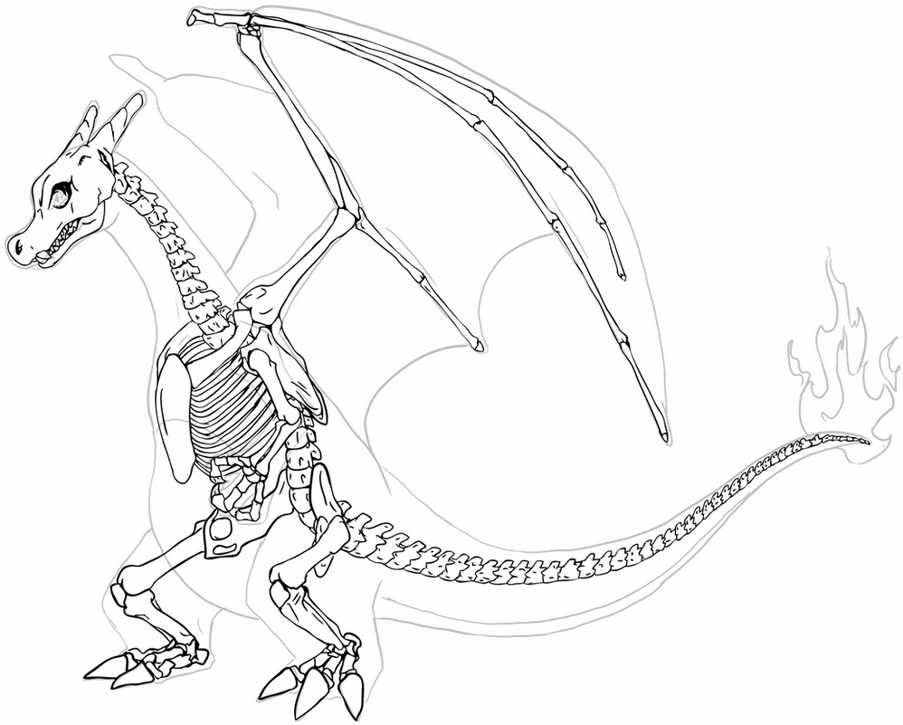 skeleton dragon coloring pages now this is cool i39d change some of the images on the skeleton coloring dragon pages