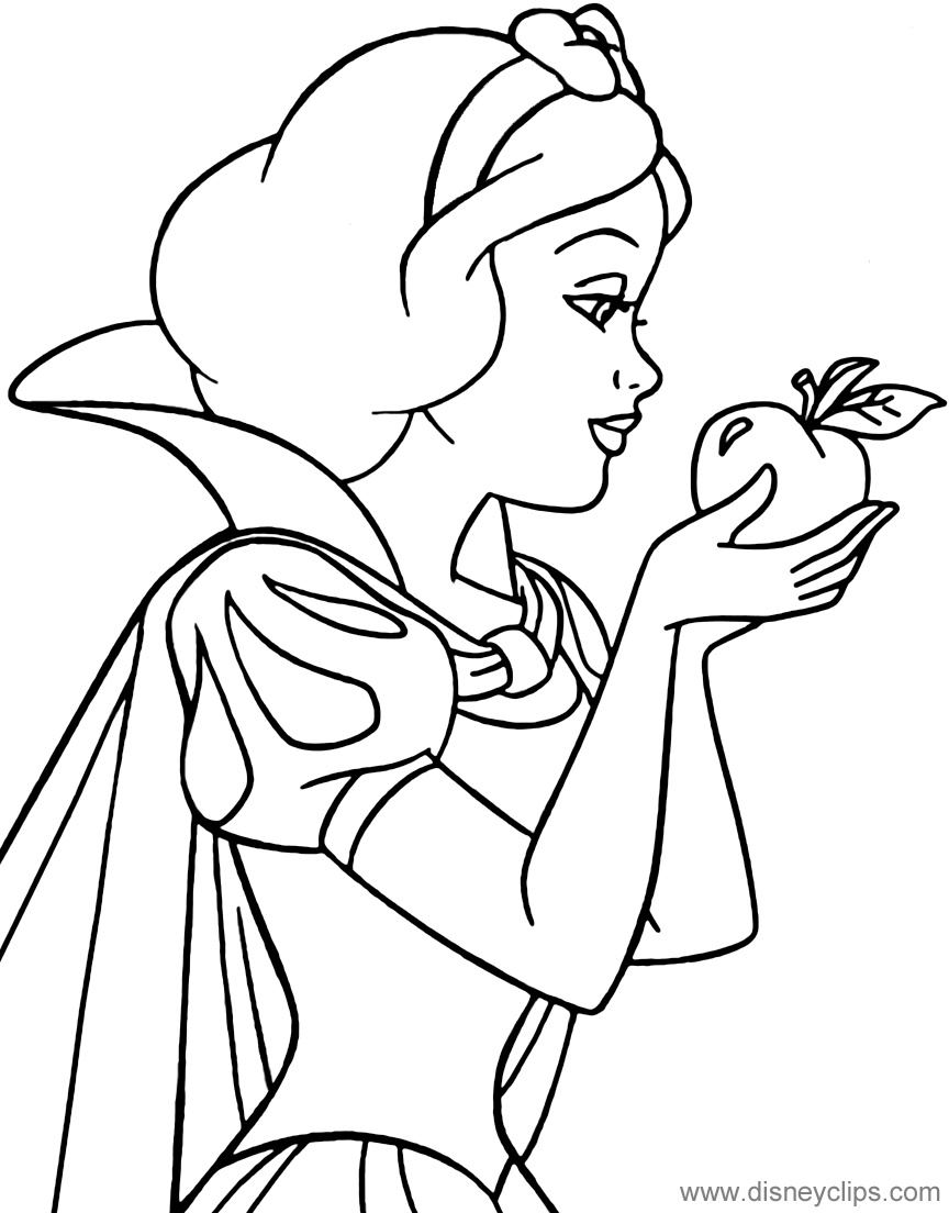 snow white color coloring page of snow white holding an apple snowwhite color white snow