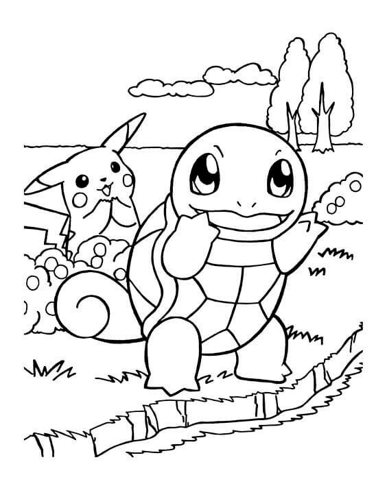 squirtle and pikachu coloring page squirtle coloring page coloring home pikachu coloring squirtle and page