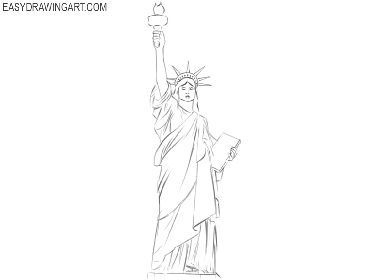 statue of liberty drawing step for step how to draw statue of liberty step by step 1 step statue of step for liberty drawing