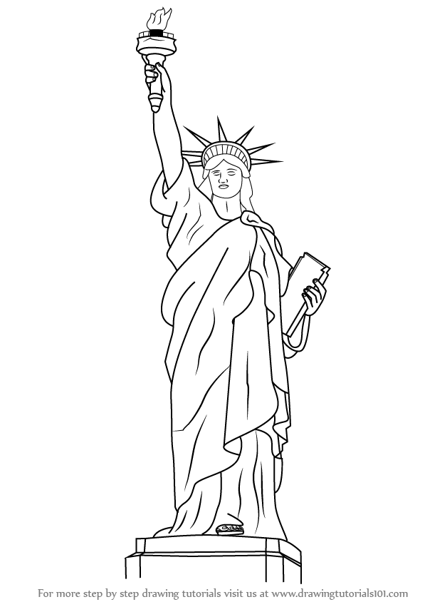 statue of liberty drawing step for step how to draw the statue of liberty drawingforallnet statue step step drawing for of liberty