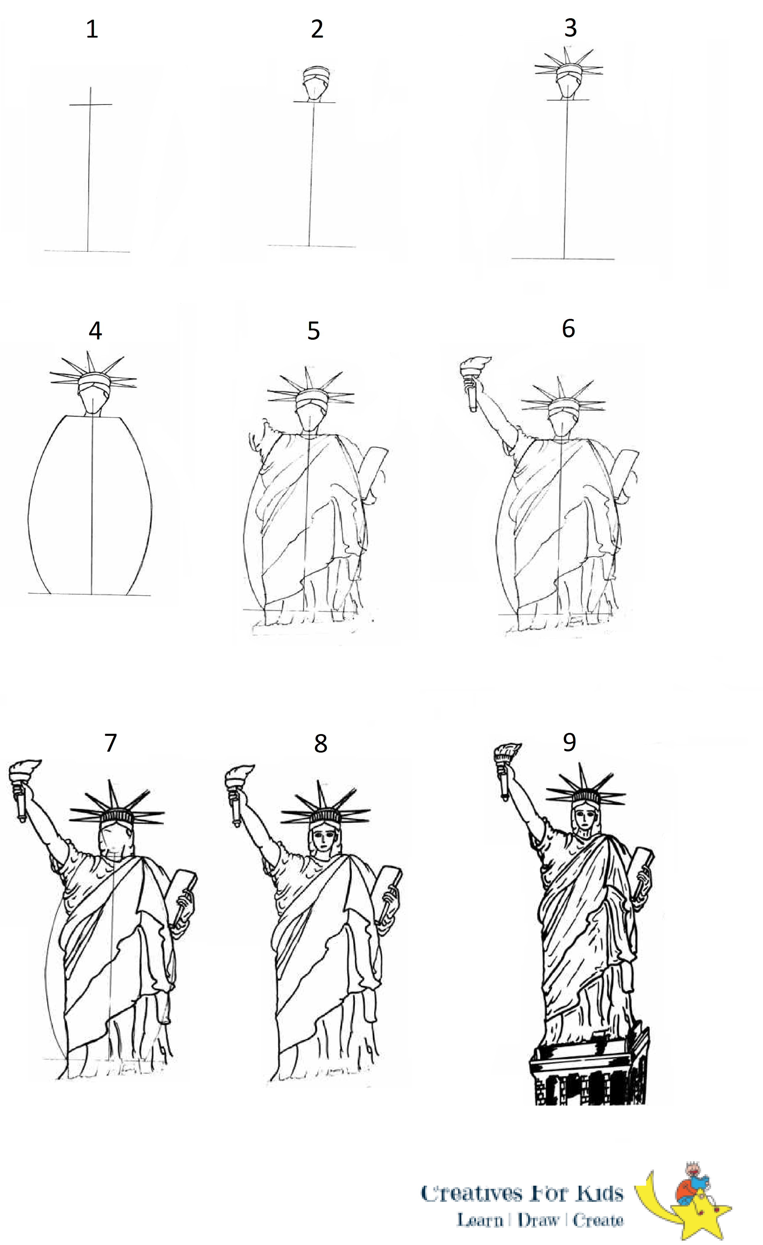 statue of liberty drawing step for step outside the box how i taught first graders to draw the drawing for step liberty of step statue