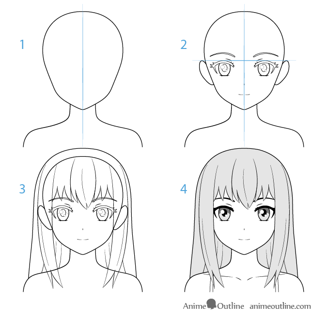 step by step anime female anime character face drawing step by step anime step by step anime