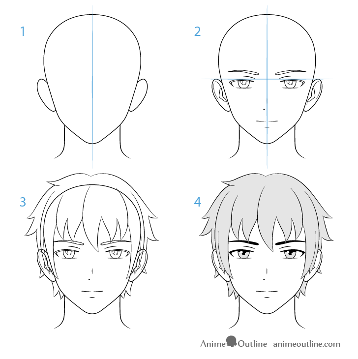 step by step anime how to draw male anime characters step by step animeoutline anime step step by