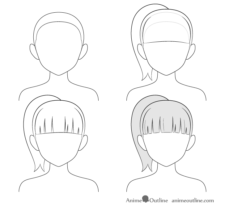 step by step anime ponytail drawing from behind step by step anime
