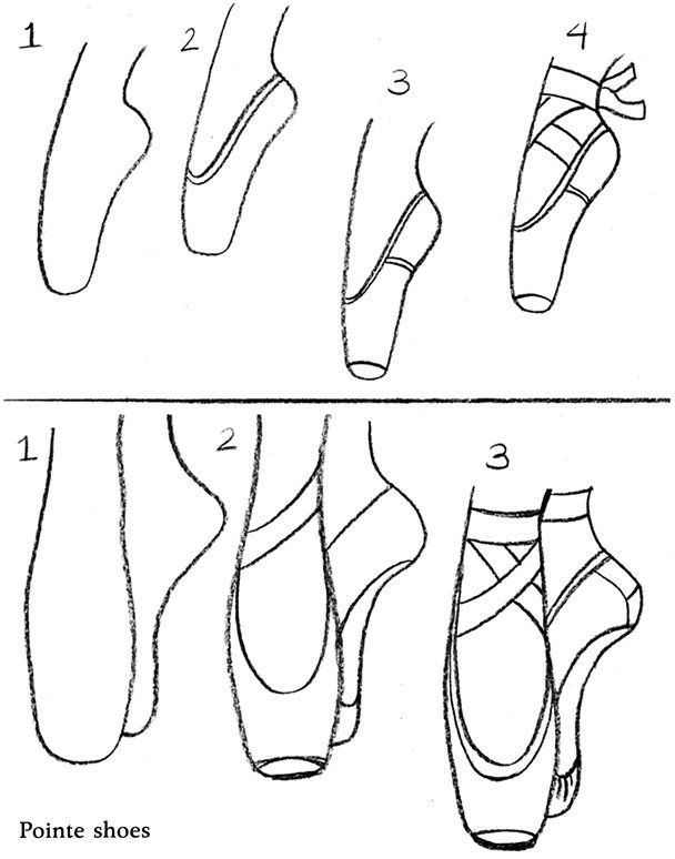 step by step how to draw a shoe how to draw ballet pointe shoes lc pinterest draw by step shoe to step a how