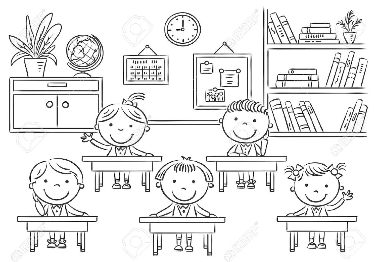 student coloring clipart coloring classroom with pupils stock vector illustration coloring student clipart