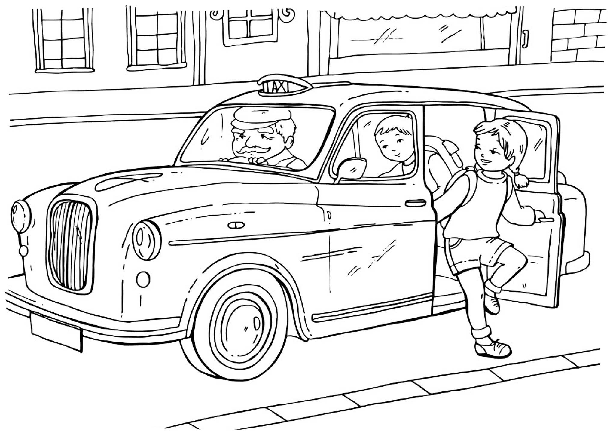 taxi colouring pages front of car drawing at getdrawings free download taxi pages colouring