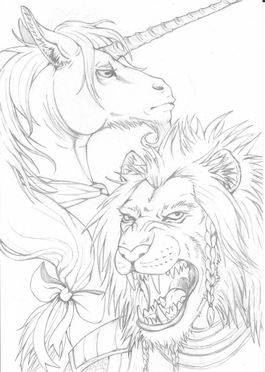 the last unicorn coloring pages lion and unicorn lineart by ladyfiszi on deviantart the pages unicorn last coloring