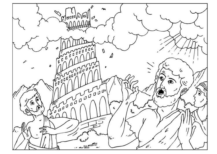 tower of babel coloring page pdf malvorlage der turm von babel religionsunterricht tower of babel pdf coloring page