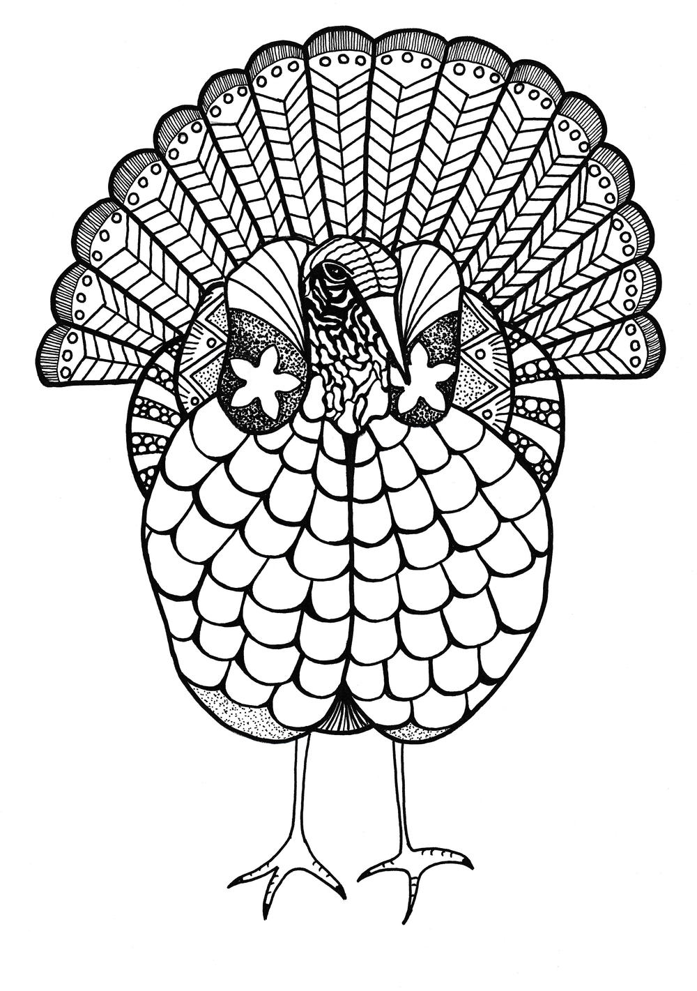 turkey color page colorful turkey adult coloring page favecraftscom turkey color page
