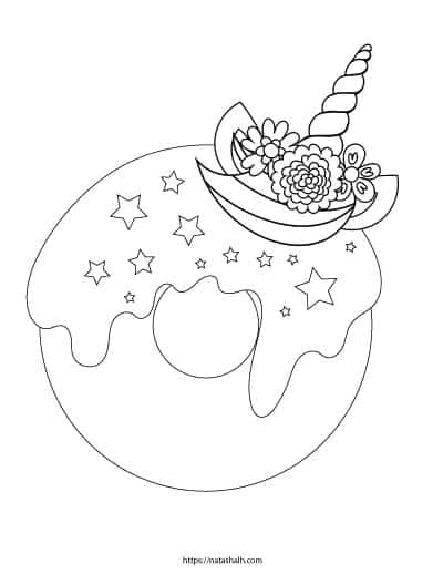 unicorn donut coloring page shop ebooks and printables in 2020 unicorn coloring coloring unicorn donut page
