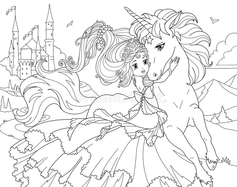 unicorn princess coloring coloring page the unicorn and princess stock illustration princess unicorn coloring