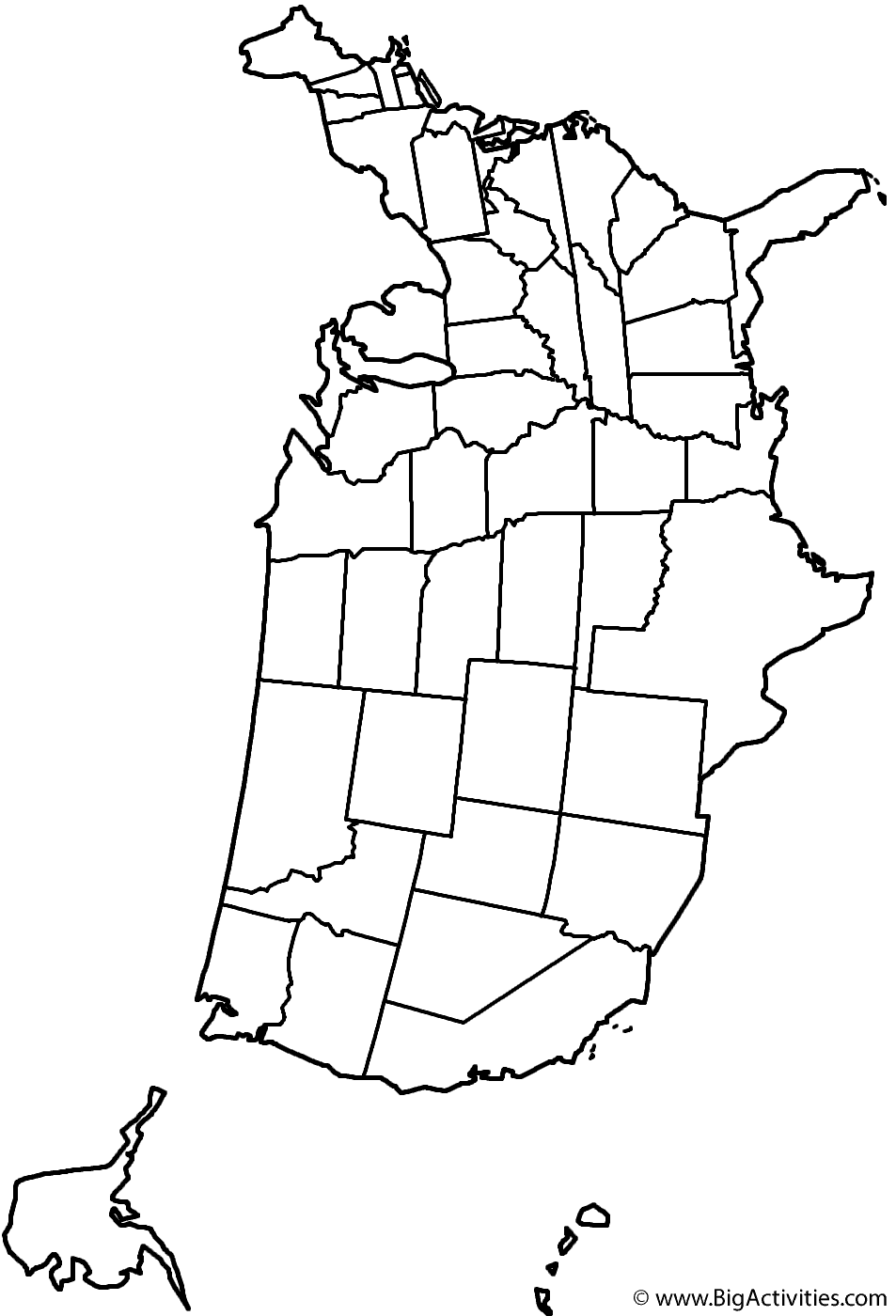 us map coloring page unlabeled map of usa coloring home coloring map us page