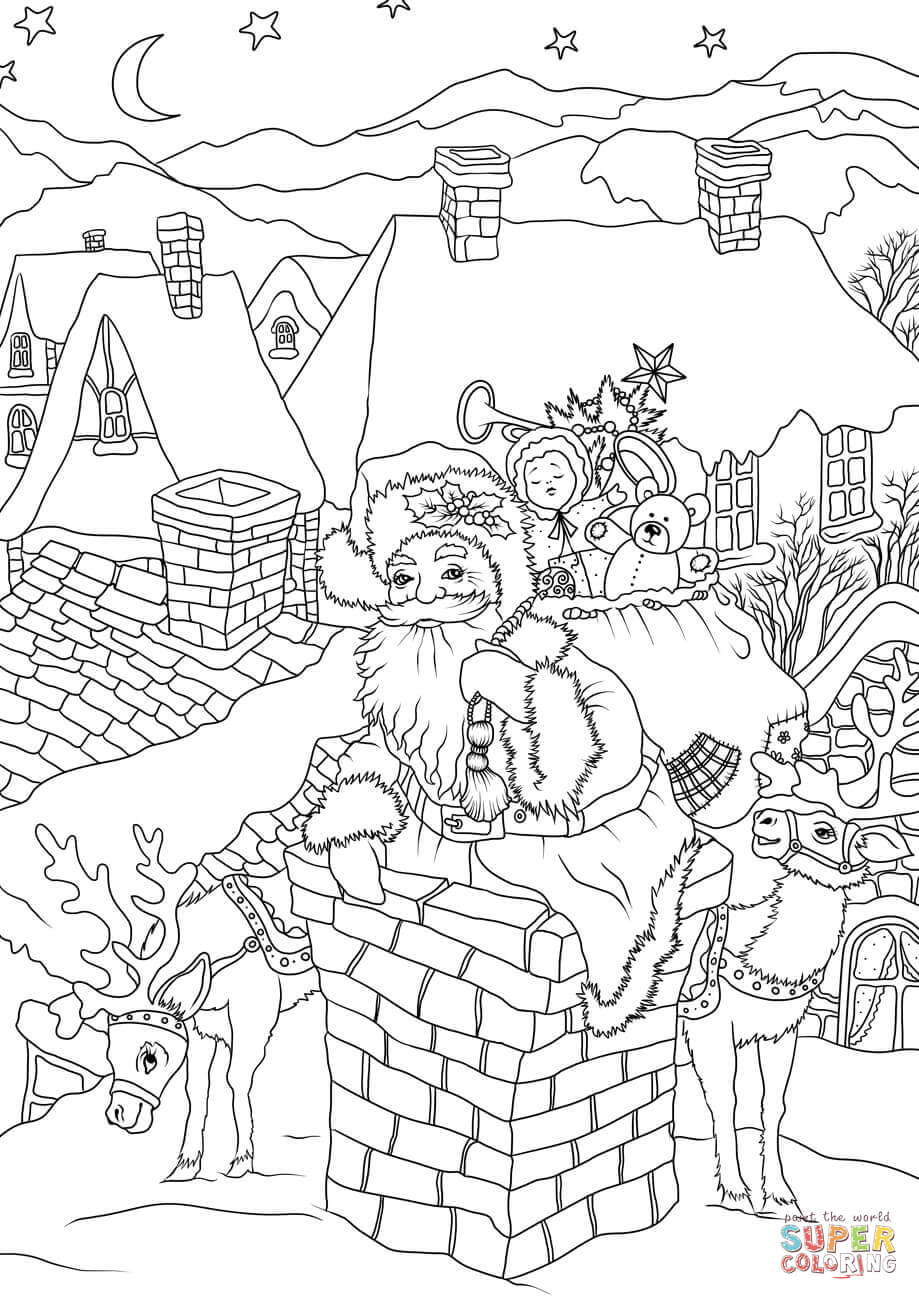 victorian christmas coloring pages santa claus with presents is entering the house via the pages victorian christmas coloring