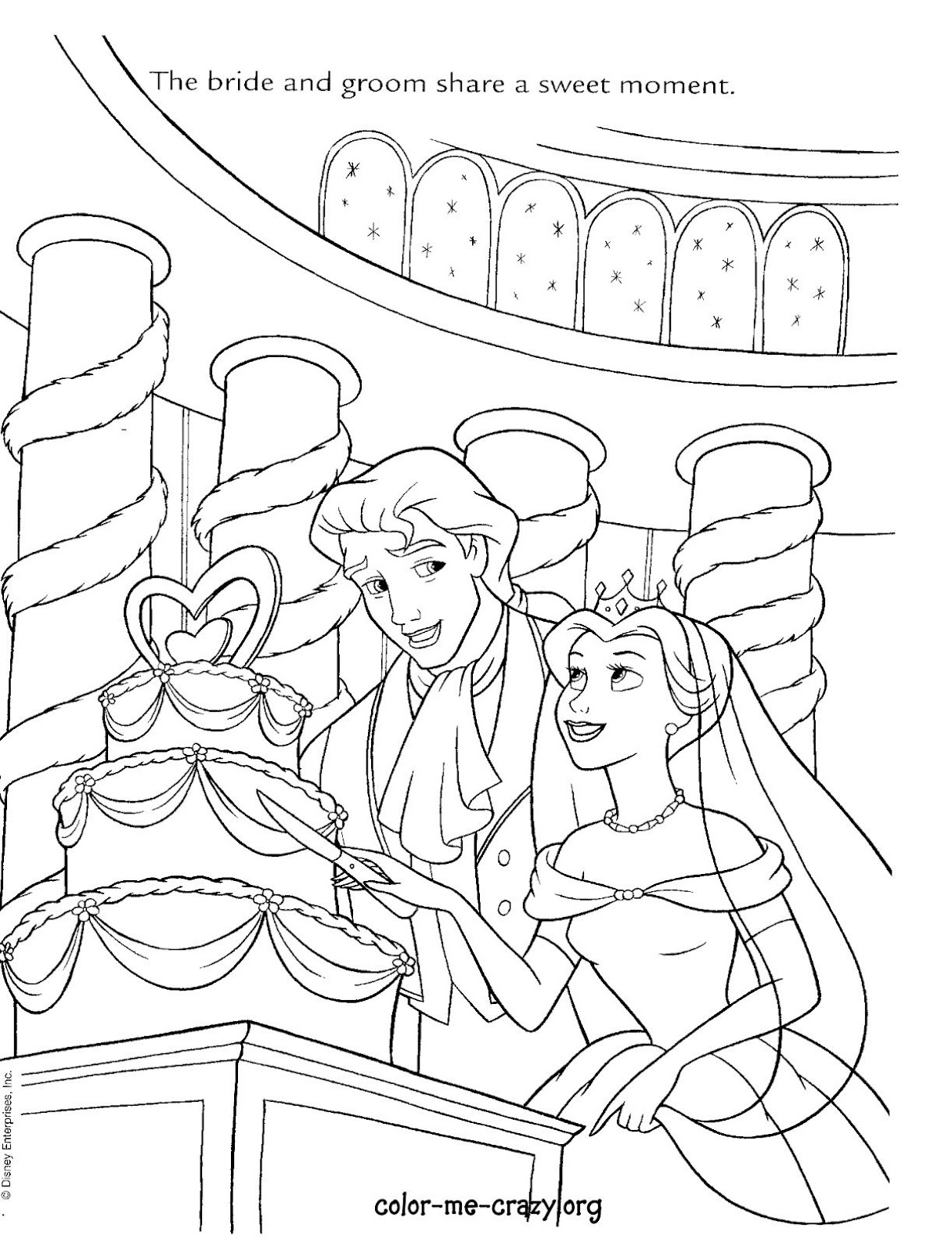 wedding day disney wedding coloring pages ariel and prince eric wedding day coloring page coloring coloring day wedding wedding disney pages