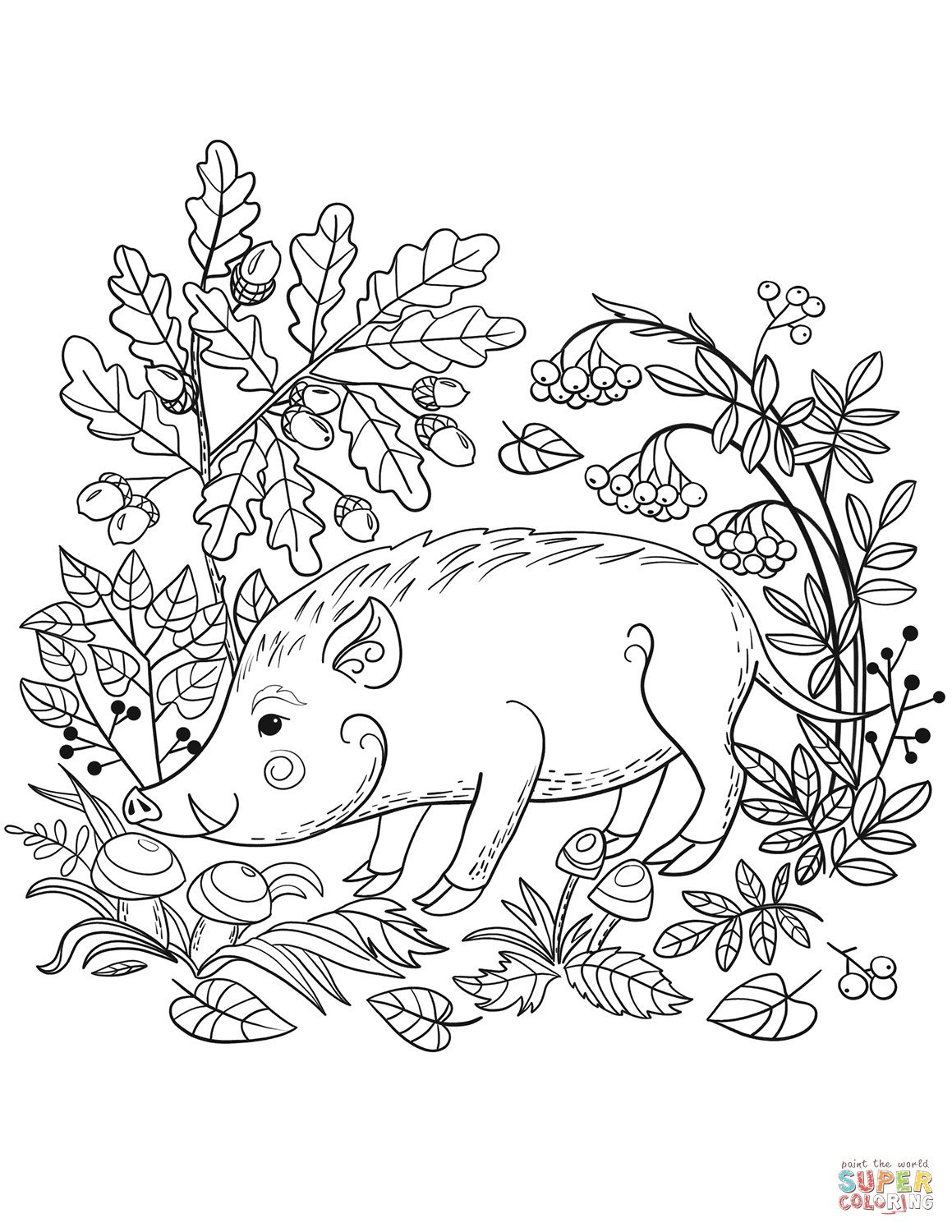 woodland animal coloring pages wild boar in the forest coloring page free printable woodland animal pages coloring