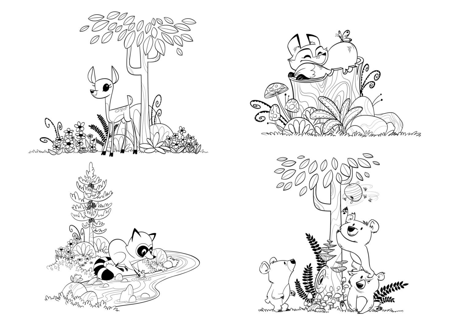 woodland animal coloring pages woodland forest animals coloring pages for children and adults animal coloring pages woodland