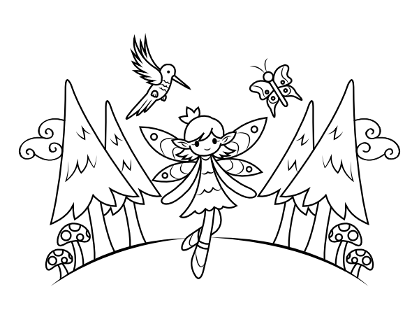 woodland fairy coloring pages woodland fairy coloring page for adults and children con coloring pages woodland fairy