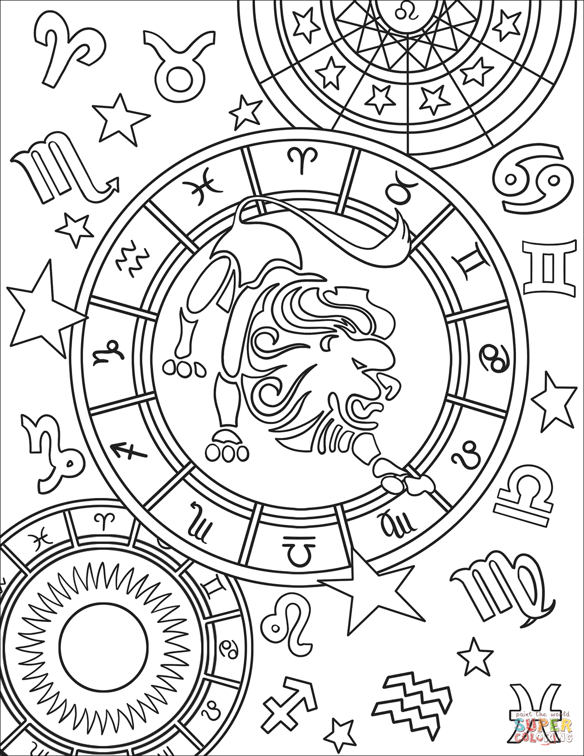 zodiac signs coloring pages zodiac signs coloring pages kidsuki signs pages zodiac coloring