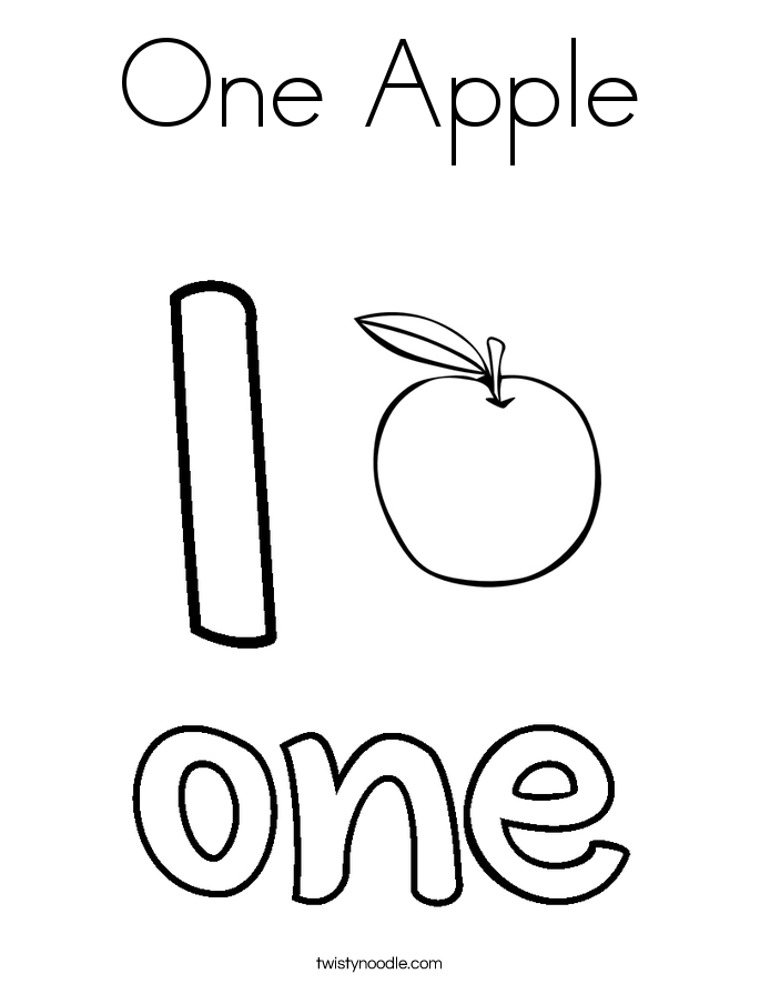 1 coloring pages one apple coloring page twisty noodle pages 1 coloring
