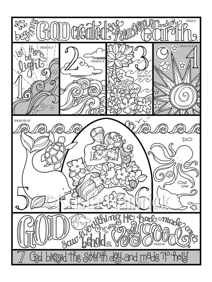 7 days of creation coloring pages free 7 days the creation story coloring sheets creation pages 7 of coloring creation free days