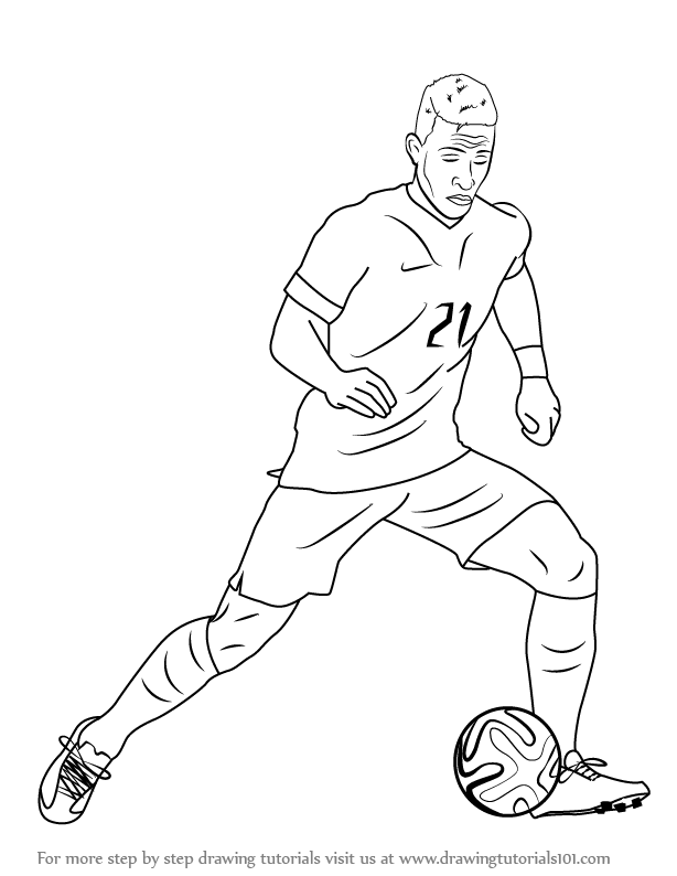 a drawing of a football player draw a soccer player clip art library of a drawing a player football
