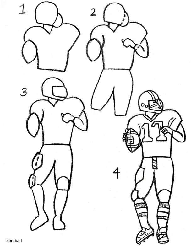 a drawing of a football player football player drawing clipartsco drawing a football a of player