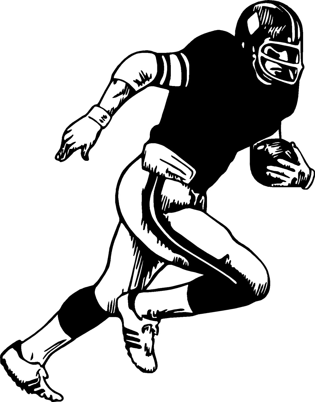 a drawing of a football player football player drawings clipartsco of a a football player drawing