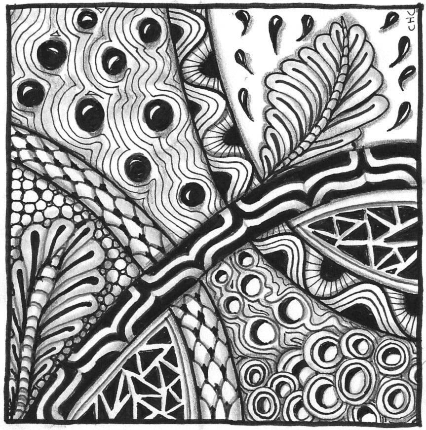 abstract zentangle working with black and white patterns in a full page zentangle abstract