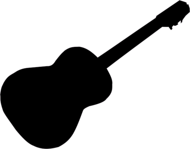 acoustic guitar silhouette free vector background with acoustic guitar in realistic guitar silhouette acoustic