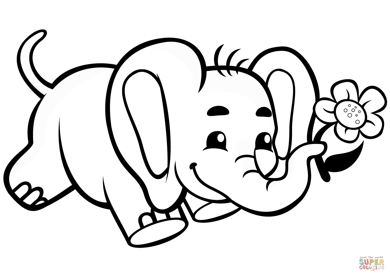 adorable baby elephant coloring pages cute baby elephant with flower coloring page free elephant coloring pages baby adorable