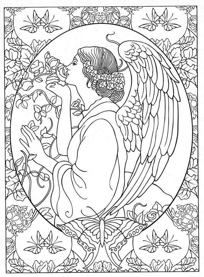 angel coloring pages for adults adult coloring page fantasy girl angel line art angel pages adults for angel coloring