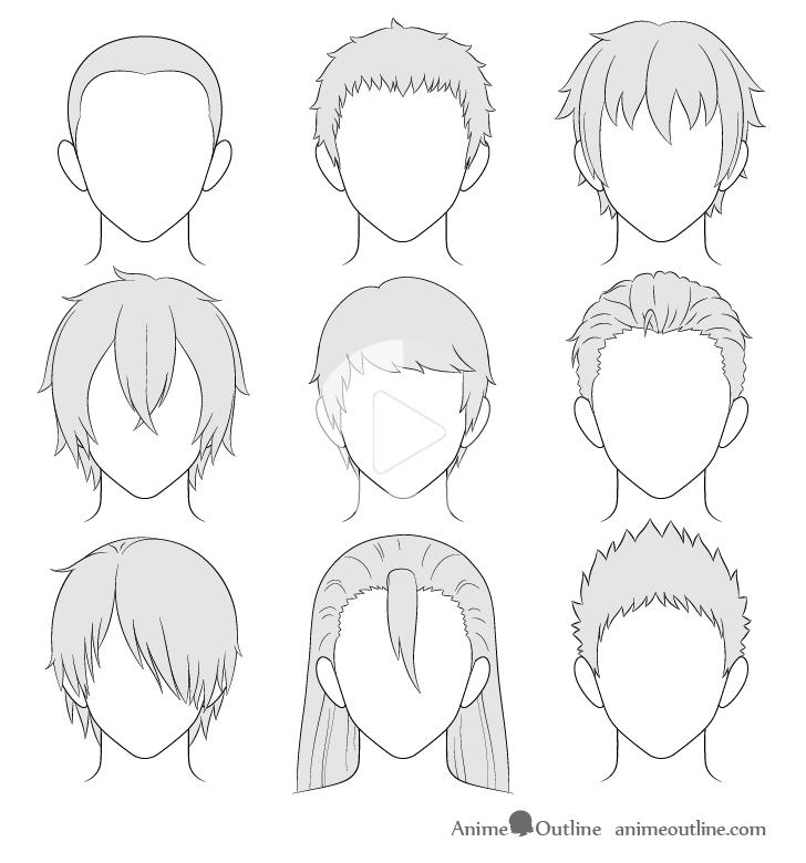 anime drawings step by step how to draw anime male hair step by step animeoutline in step step anime by drawings
