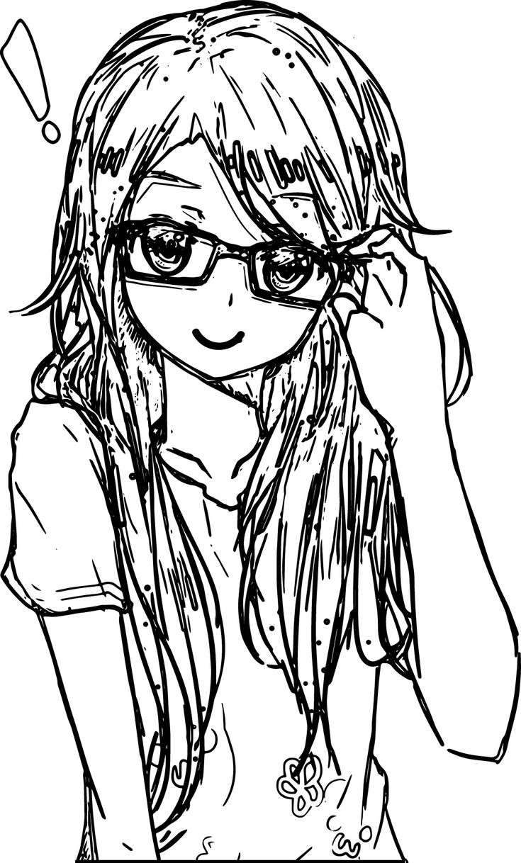 anime girl coloring pages to print nerdy girl drawing at getdrawings free download to pages anime print coloring girl