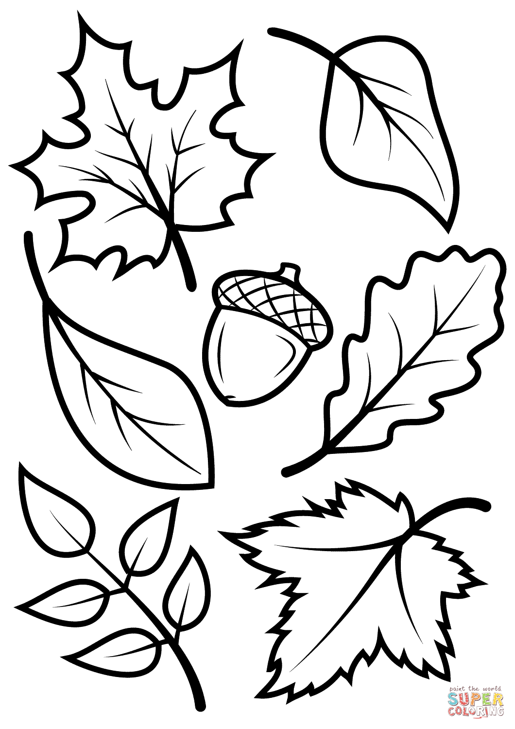 autumn leaves coloring pages fall leaves and acorn coloring page free printable coloring pages leaves autumn