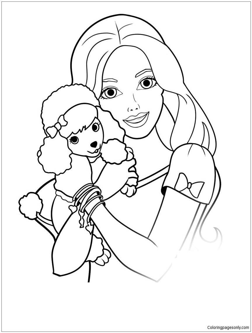 barbie and puppy coloring pages barbie and puppy coloring pages di 2020 puppy pages and barbie coloring