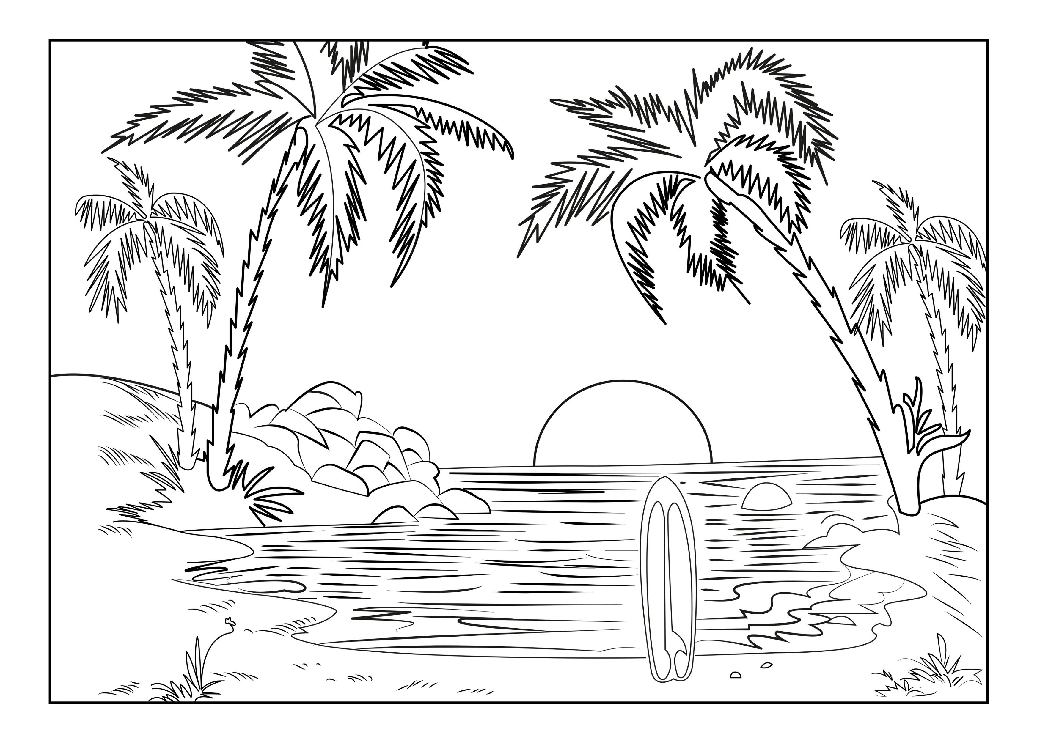beach sunset coloring pages beach sunset coloring pages at getcoloringscom free coloring beach pages sunset