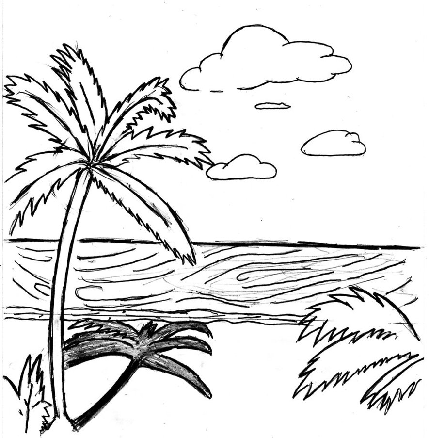 beach sunset coloring pages beach sunset drawing at getdrawings free download pages beach coloring sunset