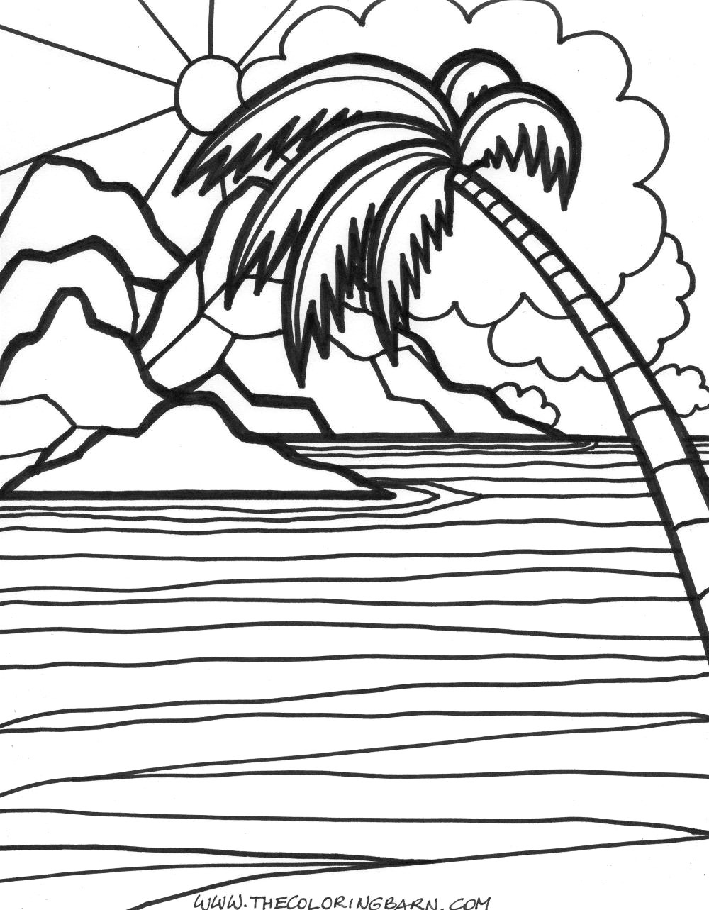 beach sunset coloring pages sunset drawing black and white at getdrawings free download pages coloring sunset beach