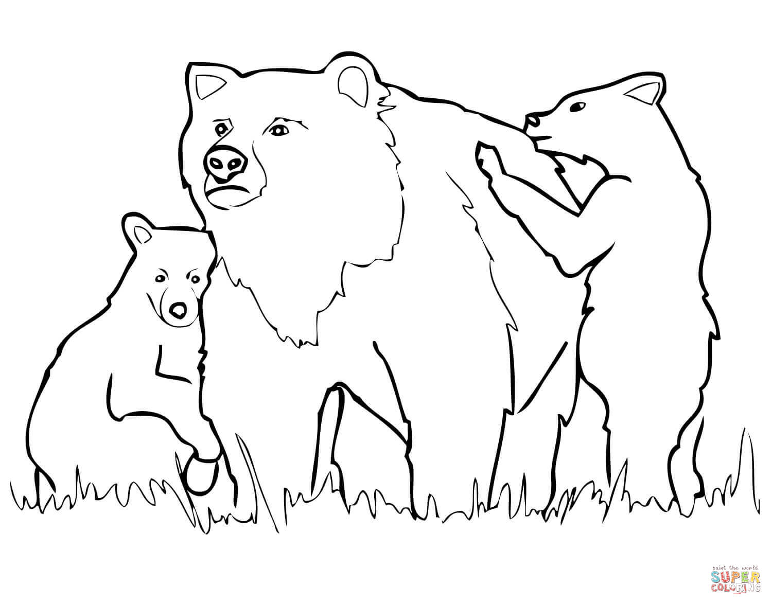 bear cub coloring pages grizzly bear mother and cubs coloring page free cub coloring pages bear