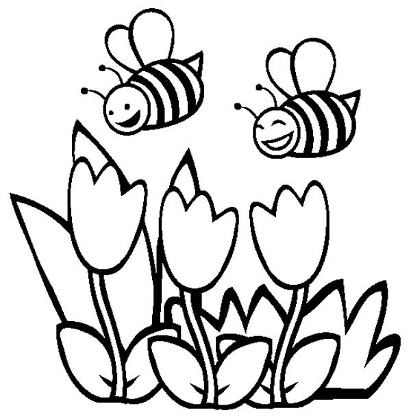 bee on flower coloring page bee and flower drawing at getdrawings free download on coloring bee page flower