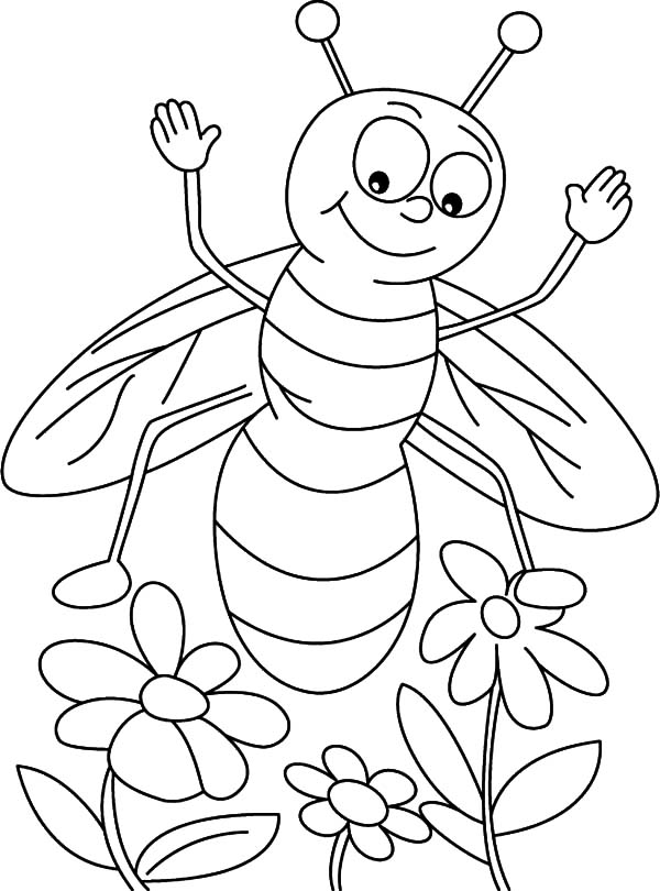 bee on flower coloring page bee coloring pages hives flowers and honey page on flower coloring bee