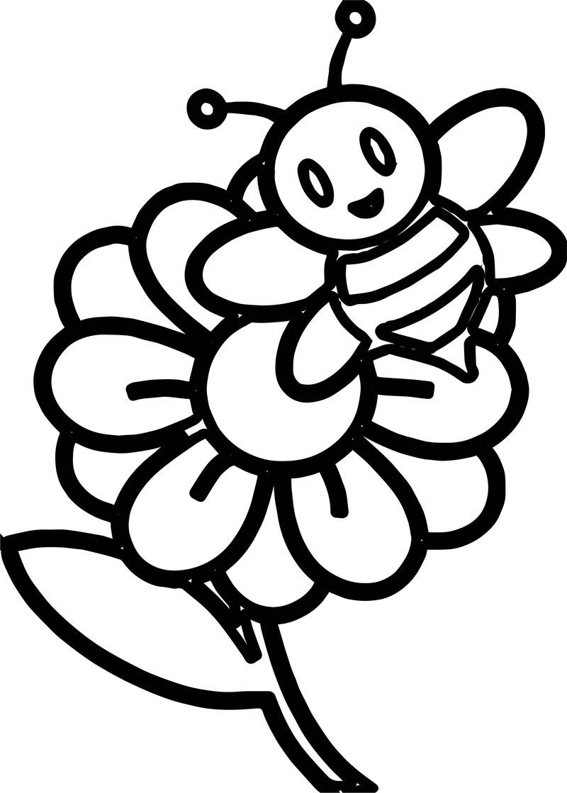 bee on flower coloring page bee on a flower coloring page free printable coloring pages on bee coloring page flower